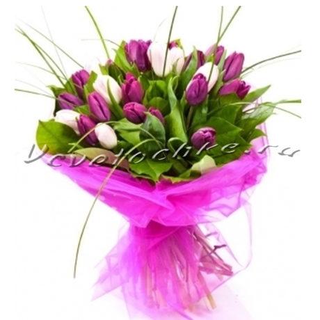 доставка цветов Москва, цветы Москва, купить цветы в Москве, цветы недорого Москва, заказать цветы Москва, цветы, Москва, доставка, тюльпаны, белые тюльпаны, фиолетовые тюльпаны