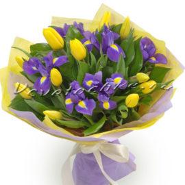 доставка цветов Москва, цветы Москва, купить цветы в Москве, цветы недорого Москва, заказать цветы Москва, цветы, Москва, доставка, ирисы, тюльпаны, букет из ирисов и тюльпанов, букет