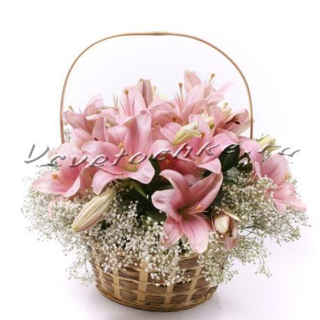 доставка цветов Москва, цветы Москва, купить цветы в Москве, цветы недорого Москва, заказать цветы Москва, цветы, Москва, доставка, лилия, розовая лилия, корзина, корзина лилий