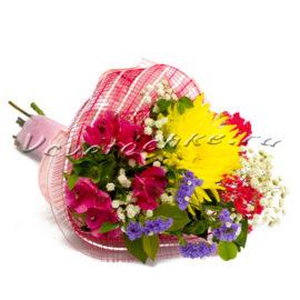 доставка цветов Москва, цветы Москва, купить цветы в Москве, цветы недорого Москва, заказать цветы Москва, цветы, Москва, доставка, хризантема, альстромерия, статица, букет