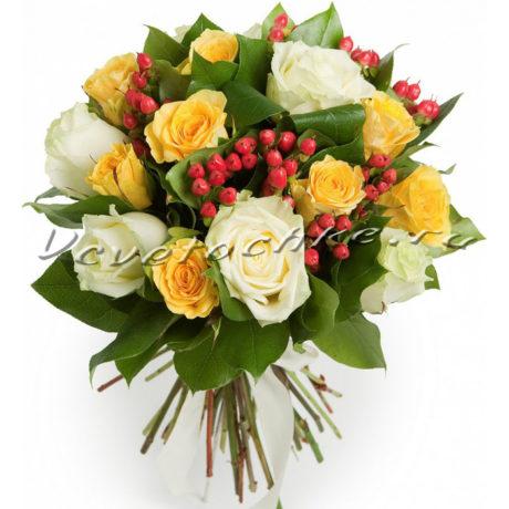 доставка цветов Москва, цветы Москва, купить цветы в Москве, цветы недорого Москва, заказать цветы Москва, цветы, Москва, доставка, роза, роза микс, гиперикум