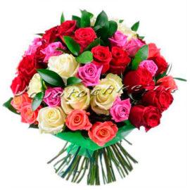 доставка цветов Москва, цветы Москва, купить цветы в Москве, цветы недорого Москва, заказать цветы Москва, цветы, Москва, доставка, роза, роза микс, разноцветная роза, букет роз