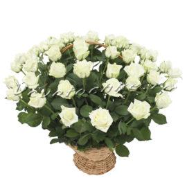 доставка цветов Москва, цветы Москва, купить цветы в Москве, цветы недорого Москва, заказать цветы Москва, цветы, Москва, доставка, корзина, корзина роз, роза, белая роза, 49 роз