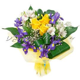доставка цветов Москва, цветы Москва, купить цветы в Москве, цветы недорого Москва, заказать цветы Москва, цветы, Москва, доставка, букет, ирисы, альстромерия, роза, желтая роза