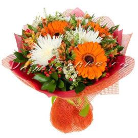 доставка цветов Москва, цветы Москва, купить цветы в Москве, цветы недорого Москва, заказать цветы Москва, цветы, Москва, доставка, букет, гербера, хризантема, белая хризантема, альстромерия, гиперикум