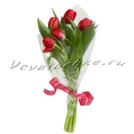 доставка цветов Москва, цветы Москва, купить цветы в Москве, цветы недорого Москва, заказать цветы Москва, цветы, Москва, доставка, букет, тюльпаны, красные тюльпаны, 5 тюльпанов, букет тюльпанов