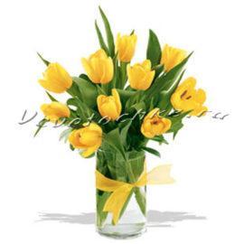 доставка цветов Москва, цветы Москва, купить цветы в Москве, цветы недорого Москва, заказать цветы Москва, цветы, Москва, доставка, букет, тюльпаны, желтые тюльпаны, 9 тюльпанов, букет тюльпанов