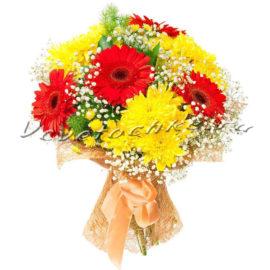доставка цветов Москва, цветы Москва, купить цветы в Москве, цветы недорого Москва, заказать цветы Москва, цветы, Москва, доставка, букет, гербера, хризантема, кустовая хризантема, желтая хризантема