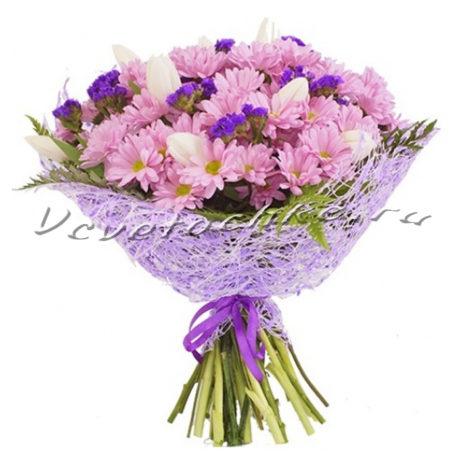 доставка цветов Москва, цветы Москва, купить цветы в Москве, цветы недорого Москва, заказать цветы Москва, цветы, Москва, доставка, букет, тюльпаны, хризантема, кустовая хризантема, статица