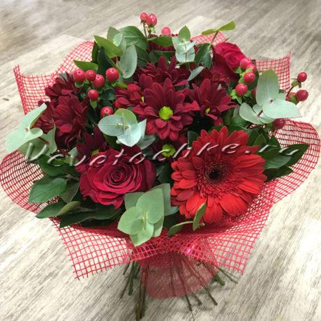 доставка цветов Москва, цветы Москва, купить цветы в Москве, цветы недорого Москва, заказать цветы Москва, цветы, Москва, доставка, букет, гербера, хризантема, кустовая хризантема, роза, гиперикум