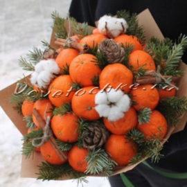доставка цветов Москва, цветы Москва, купить цветы в Москве, цветы недорого Москва, заказать цветы Москва, цветы, Москва, доставка, новый год, новогодний букет, ель, кедровые шишки, корица, мандарины, хлопок