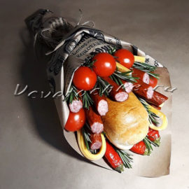 доставка цветов Москва, цветы Москва, купить цветы в Москве, цветы недорого Москва, заказать цветы Москва, цветы, Москва, доставка, букет, мужской букет, съедобный букет, колбаса, колбаска, помидоры, сыр, чили