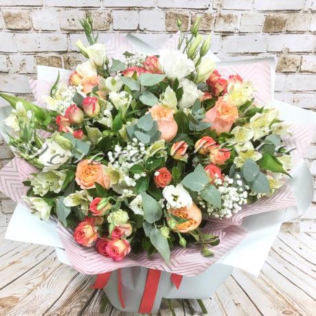 доставка цветов Москва, цветы Москва, купить цветы в Москве, цветы недорого Москва, заказать цветы Москва, цветы, Москва, доставка, букет, роза, кустовая роза, альстромерия, эвкалипт, эустома