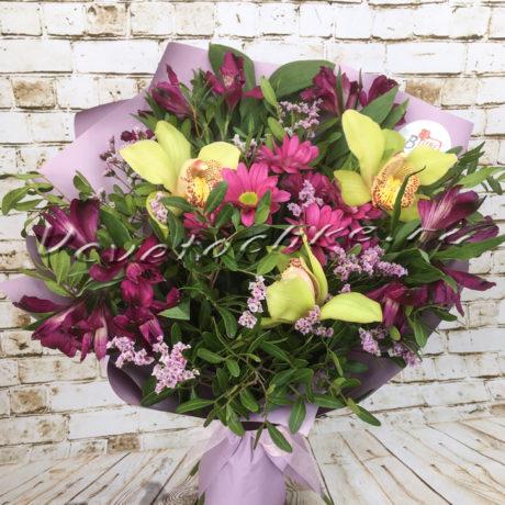 доставка цветов Москва, цветы Москва, купить цветы в Москве, цветы недорого Москва, заказать цветы Москва, цветы, Москва, доставка, букет, альстромерия, орхидея, хризантема, кустовая хризантема, лимониум