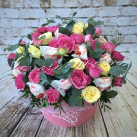 доставка цветов Москва, цветы Москва, купить цветы в Москве, цветы недорого Москва, заказать цветы Москва, цветы, Москва, доставка, букет, роза, кустовая роза, эвкалипт, коробка, шляпная коробка