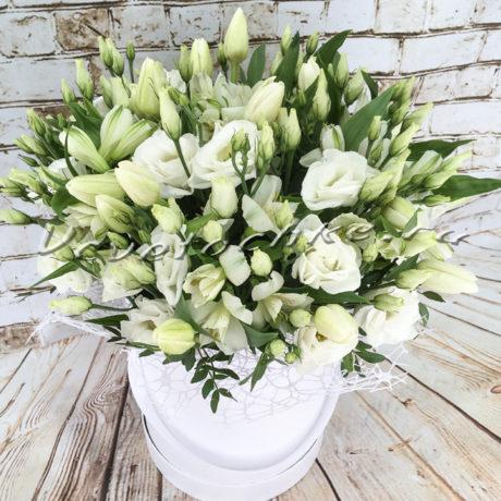 доставка цветов Москва, цветы Москва, купить цветы в Москве, цветы недорого Москва, заказать цветы Москва, цветы, Москва, доставка, букет, эустома, тюльпаны, белые тюльпаны, коробка, шляпная коробка