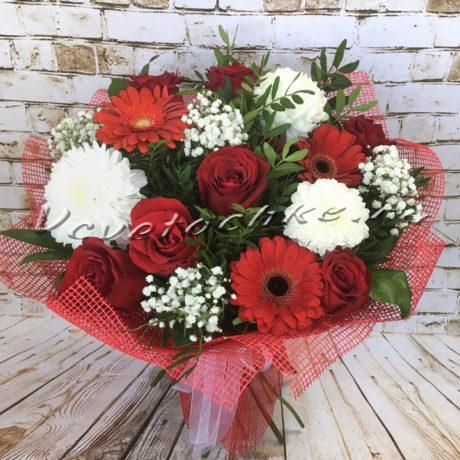 доставка цветов Москва, цветы Москва, купить цветы в Москве, цветы недорого Москва, заказать цветы Москва, цветы, Москва, доставка, букет, гербера, хризантема, одноголовая хризантема, гипсофила