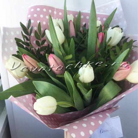 доставка цветов Москва, цветы Москва, купить цветы в Москве, цветы недорого Москва, заказать цветы Москва, цветы, Москва, доставка, букет, тюльпаны, букет из тюльпанов, 15 тюльпанов, белые тюльпаны