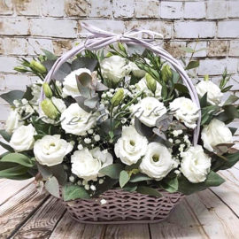 доставка цветов Москва, цветы Москва, купить цветы в Москве, цветы недорого Москва, заказать цветы Москва, цветы, Москва, доставка, букет, корзина, эустома, гипсофила, эвкалипт, корзина эустом, белая эустома