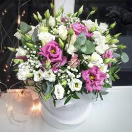 доставка цветов Москва, цветы Москва, купить цветы в Москве, цветы недорого Москва, заказать цветы Москва, цветы, Москва, доставка, букет, коробка, шляпная коробка, коробка эустом, эустома