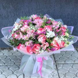 доставка цветов Москва, цветы Москва, купить цветы в Москве, цветы недорого Москва, заказать цветы Москва, цветы, Москва, доставка, букет, альстромерия, роза, гипсофила, пистация, статица