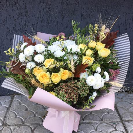 доставка цветов Москва, цветы Москва, купить цветы в Москве, цветы недорого Москва, заказать цветы Москва, цветы, Москва, доставка, букет, роза, кустовая роза, хризантема, кустовая хризантема, седум, колосья, листья дуба, лимониум