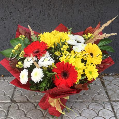 доставка цветов Москва, цветы Москва, купить цветы в Москве, цветы недорого Москва, заказать цветы Москва, цветы, Москва, доставка, букет, гербера, хризантема, кустовая хризантема, статица, дубовые листья, колосья