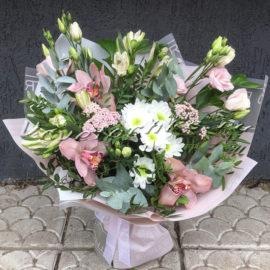 доставка цветов Москва, цветы Москва, купить цветы в Москве, цветы недорого Москва, заказать цветы Москва, цветы, Москва, доставка, букет, альстромерия, орхидея, хризантема, кустовая хризантема, эустома, эвкалипт, тысячелистник