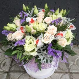 доставка цветов Москва, цветы Москва, купить цветы в Москве, цветы недорого Москва, заказать цветы Москва, цветы, Москва, доставка, букет, коробка, шляпная коробка, коробка цветов, роза, рустовая роза, эустома, статица, цинерария