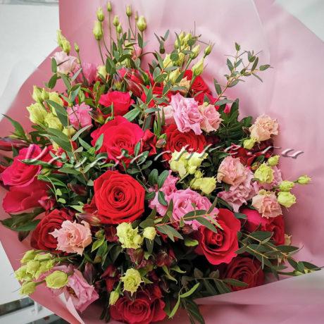 доставка цветов Москва, цветы Москва, купить цветы в Москве, цветы недорого Москва, заказать цветы Москва, цветы, Москва, доставка, букет, альстромерия, роза, малиновая роза, красная роза, эустома