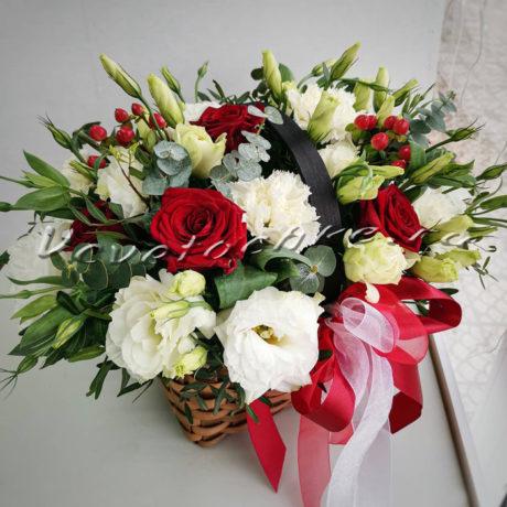 доставка цветов Москва, цветы Москва, купить цветы в Москве, цветы недорого Москва, заказать цветы Москва, цветы, Москва, доставка, букет, корзина, корзина цветов, корзина эустом, роза, красная роза, гиперикум, эвкалипт