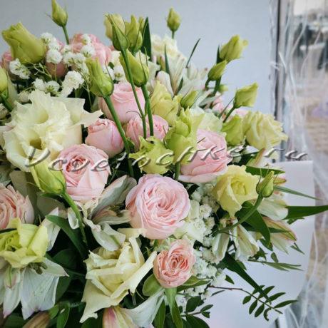 доставка цветов Москва, цветы Москва, купить цветы в Москве, цветы недорого Москва, заказать цветы Москва, цветы, Москва, доставка, букет, коробка, коробка цветов, шляпная коробка, альстромерия, роза, кустовая роза, эустома