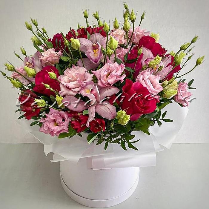 доставка цветов Москва, цветы Москва, купить цветы в Москве, цветы недорого Москва, заказать цветы Москва, цветы, Москва, доставка, букет, коробка, коробка цветов, шляпная коробка, альстромерия, орхидея, роза, эустома