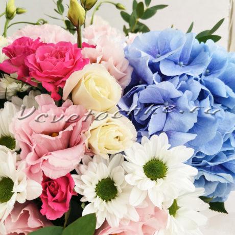 доставка цветов Москва, цветы Москва, купить цветы в Москве, цветы недорого Москва, заказать цветы Москва, цветы, Москва, доставка, гортензия, шляпная коробка, роза, хризантема, эустома, сталлион, гортензия