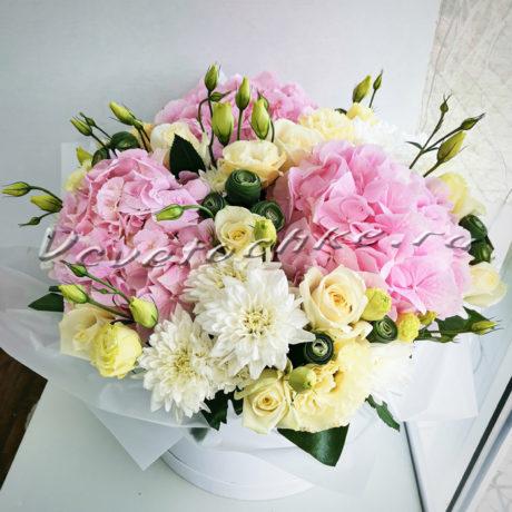доставка цветов Москва, цветы Москва, купить цветы в Москве, цветы недорого Москва, заказать цветы Москва, цветы, Москва, доставка, коробка, шляпная коробка, коробка цветов, роза, гортензия, хризантема, эустома