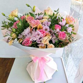 доставка цветов Москва, цветы Москва, купить цветы в Москве, цветы недорого Москва, заказать цветы Москва, цветы, Москва, доставка, букет, альстромерия, роза, роза кустовая, эустома, хризантема