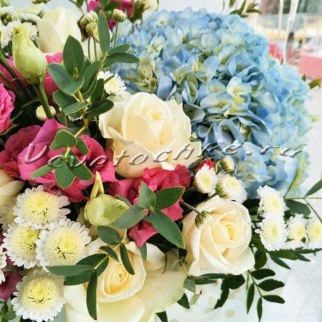 доставка цветов Москва, цветы Москва, купить цветы в Москве, цветы недорого Москва, заказать цветы Москва, цветы, Москва, доставка, коробка, шляпная коробка, коробка цветов, гортензия, кустовая роза, роза, эустома, сталлион